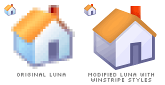 two icons, one is the Luna Home icon, the other is the modified Luna Home icon applied with Winstripe styles
