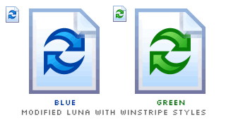 two modified Luna Reload icons applied with Winstripe styles, blue and green