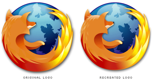 two Firefox logos, one is original and the other is recreated from scratch