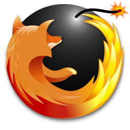 recreated Firefox logo, modified with a spherical bomb as the firefox is facing it