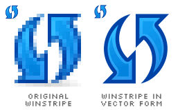 two Winstripe Reload icons, one is original, the other is derived into vector form