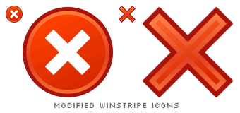 two modified Winstripe Back icons, one has a circle around it, the other is only an X sign