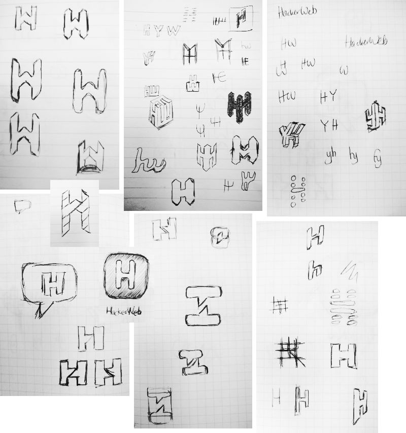 Hand-drawn sketches of HackerWeb logos
