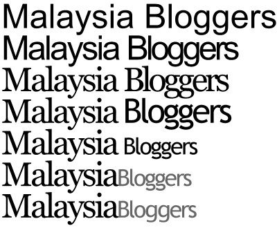'Malaysia Bloggers' texts evolving through different font variations, text sizes and colour manipulation