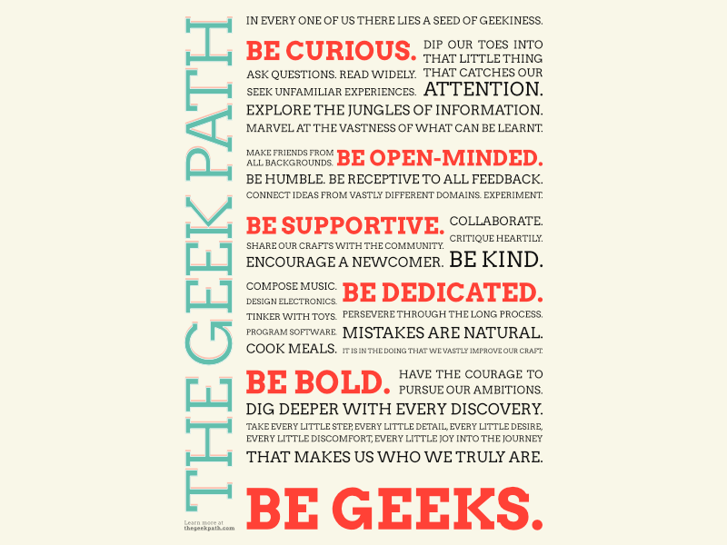 The Geek Path manifesto poster
