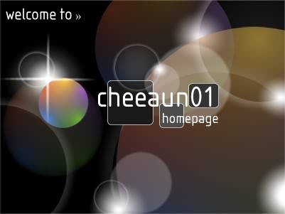 splash image for my first ever personal home page, showing 'welcome to » cheeaun01 homepage'