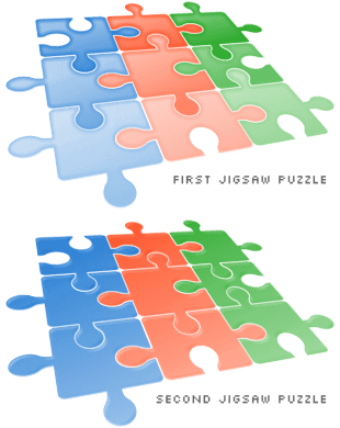 two jigsaw puzzles, first is simplistic, second is more sleek