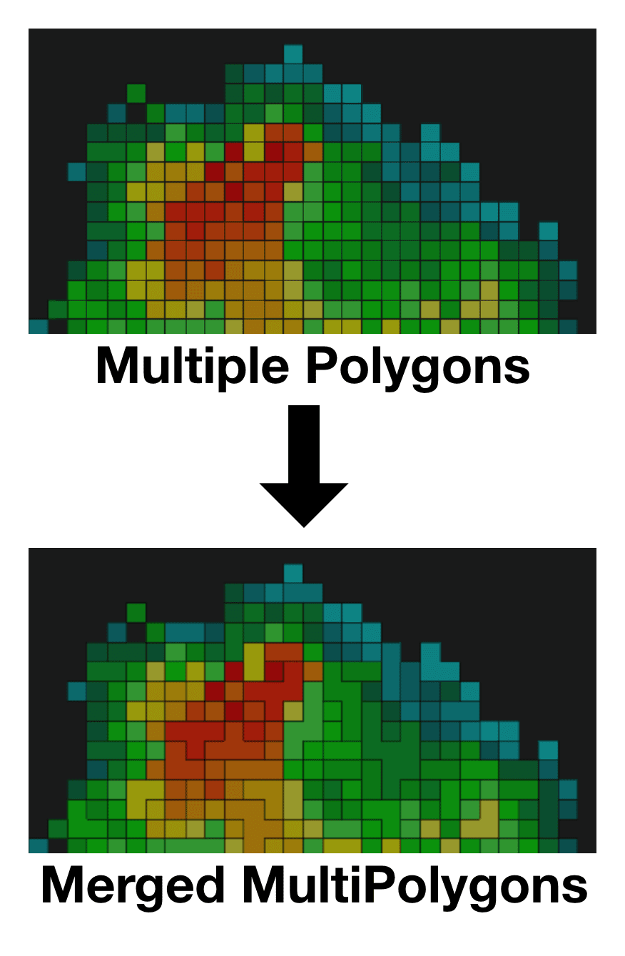 Multiple polygons becomes merged MultiPolygons, on a map