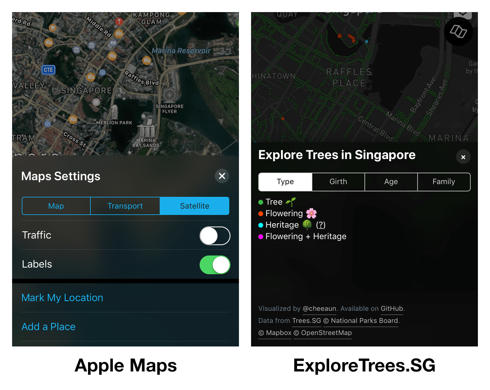 Apple Maps Settings compared to Layers panel in ExploreTrees.SG