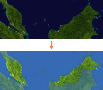 two Malaysia map satellite images, one is the default, the other is modified from its contrast, brightness and colours