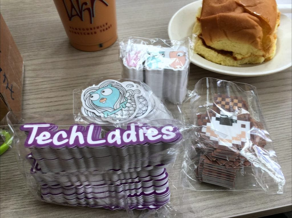 Gophercon Singapore, TechLadies and pixelated KopiJS stickers, from StickerHD