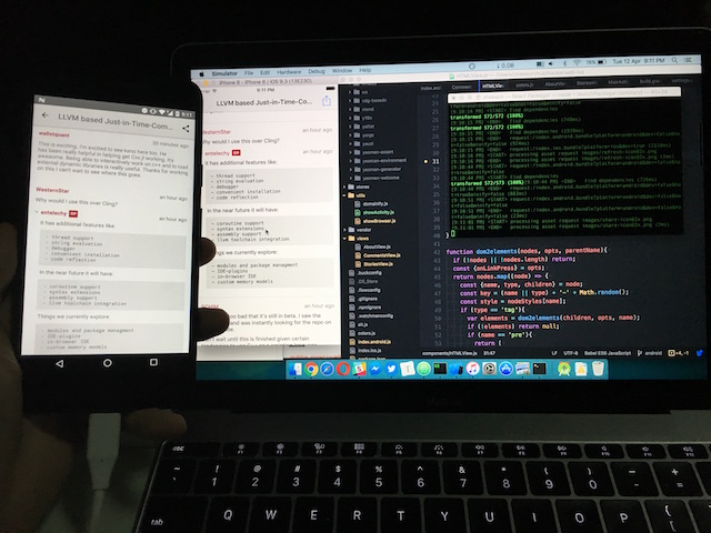 Running HackerWeb app on both iPhone/iOS simulator and Android Nexus 5X phone, with a MacBook