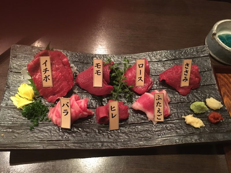 Seven kinds of horse meat at Obakurou in Tokyo