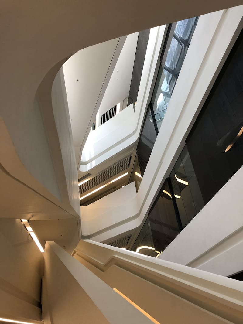 Futuristic stairwell in the Innovation Tower at the Hong Kong Polytechnic University
