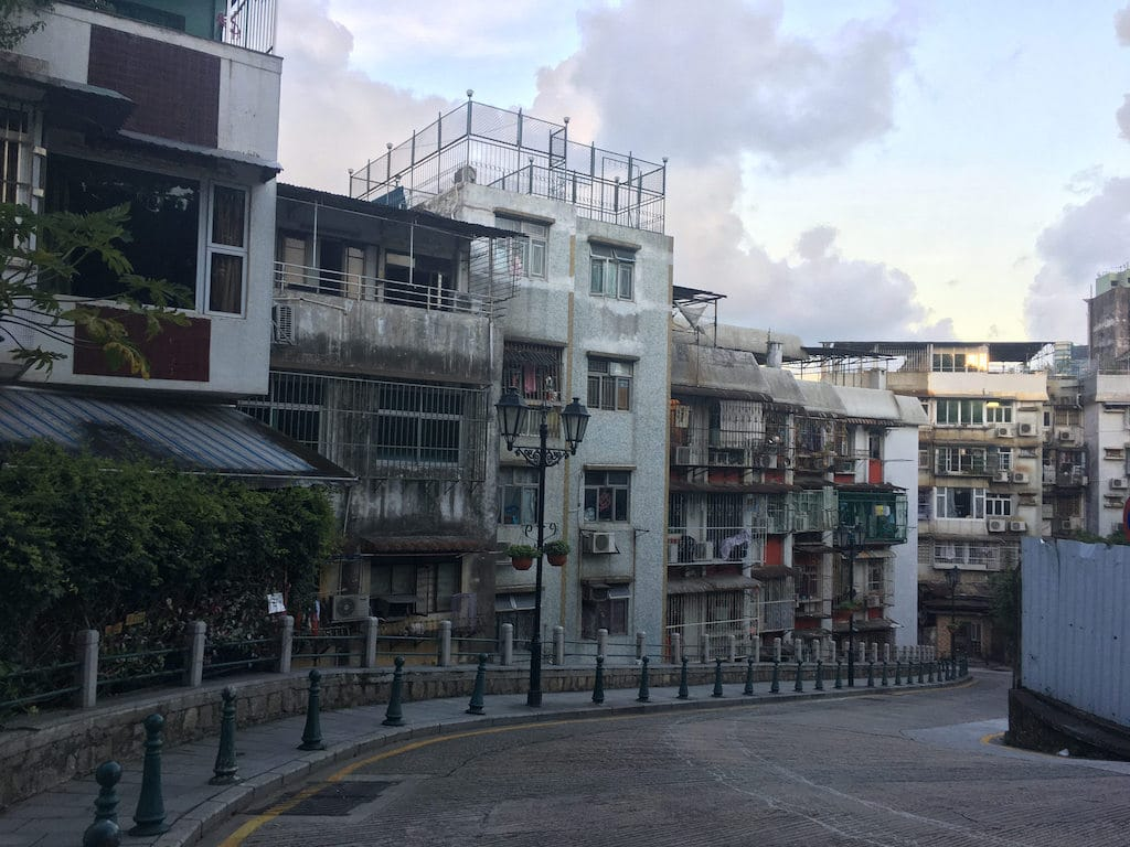 Old buildings on a hill in Macau