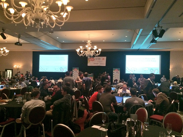 All the people, the stage, the chairs and projectors in EmberConf 2014