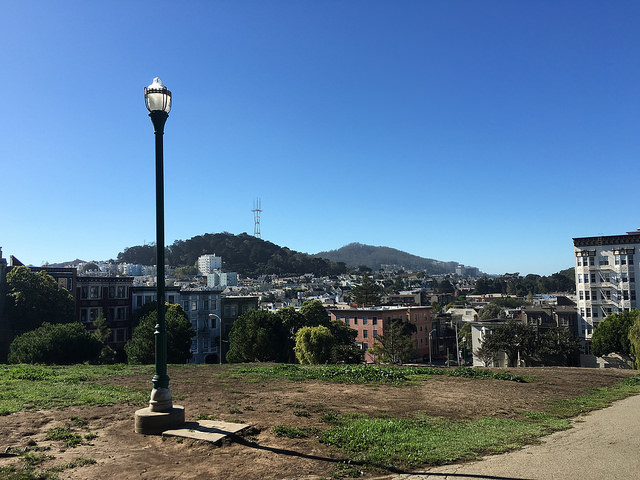 View of Sutro Tower from Alamo Square Park in San Francisco