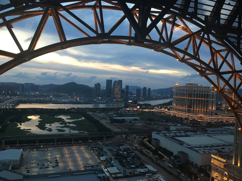View on top of Golden Reel in Studio City in Macau
