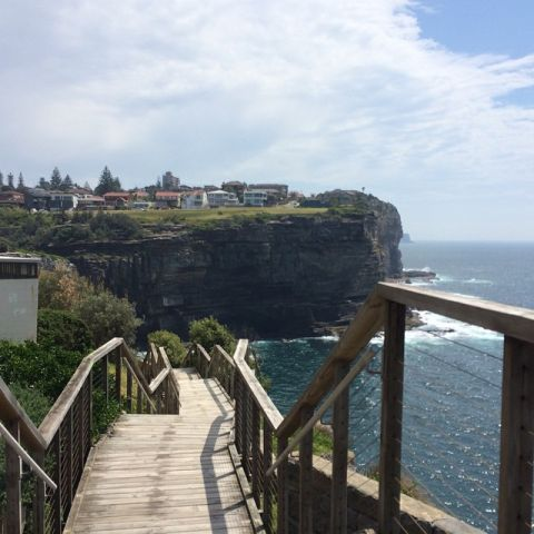 Wooden stairs at the Diamond Bay Cliffs, Sydney