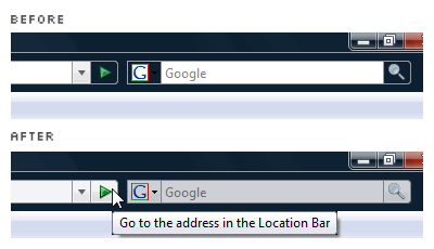 before: the awkward 'Go' button, 'Search' button, location bar and search bar on Firefox; after: Vista-style 'Go' button, 'Search' button, location bar and search bar