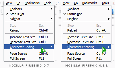 two menu popups, one showing the 'Character Coding' menu item in Mozilla Firebird 0.7, the other showing the 'Character Encoding' menu item in Mozilla Firefox 0.9.2