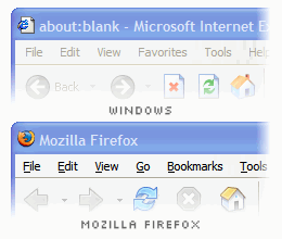 two unfocused windows, one is the Internet Explorer window showing disabled menubar menus, the other is the Mozilla Firefox window showing non-disabled menubar menus