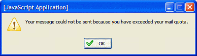 alert message dialog, showing 'Your message could not be sent because you have exceeded your mail quota.'