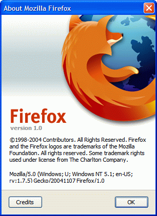 Mozilla Firefox 1.0's About dialog