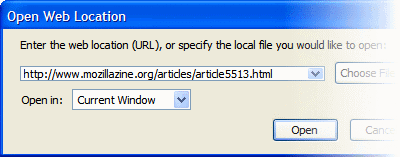 'Open Web Location' dialog