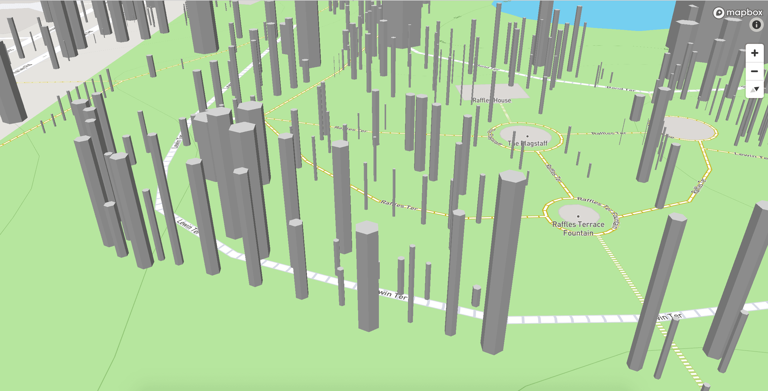 3D trees rendered based on girth and height on a map in Singapore, zoomed in close-up