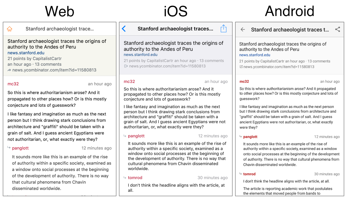 HackerWeb Comments view on Web, iOS and Android