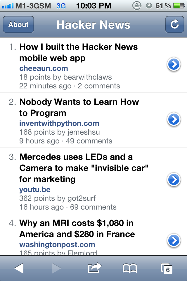 Screenshot of HNmobile frontpage showing 'How I built the Hacker News mobile web app' article listed at the top