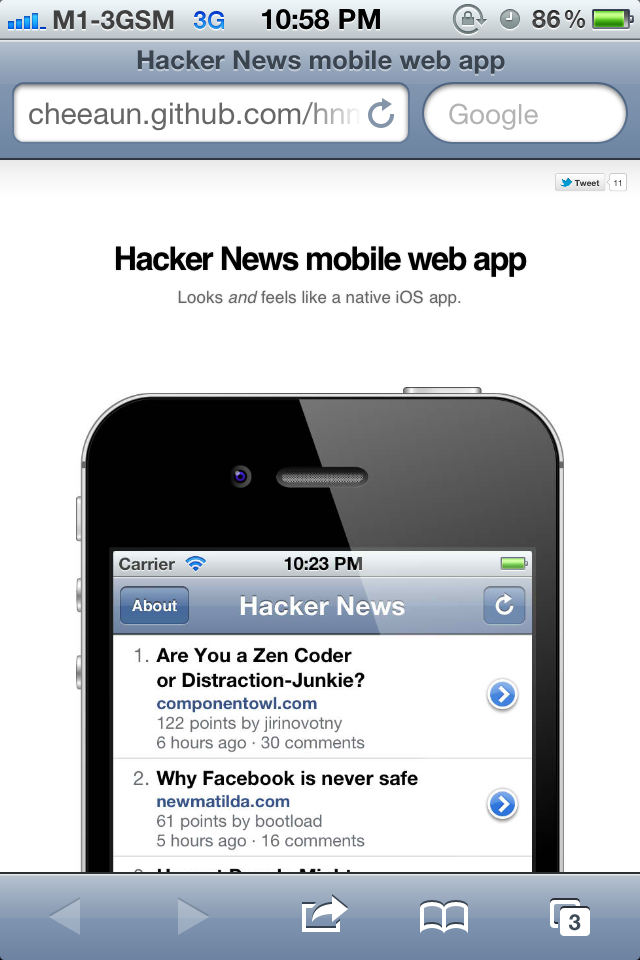 Screenshot of HNMobile landing page on Mobile Safari