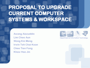 PowerPoint slide presentation titled 'Proposal to Upgrade Current Computer Systems and Workspace', designed with the Web 2.0 visual elements, blue theme and rounded corners