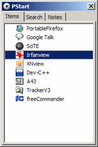 Pstart application start panel window, showing a list of portable programs, such as Portable Firefox and SciTE