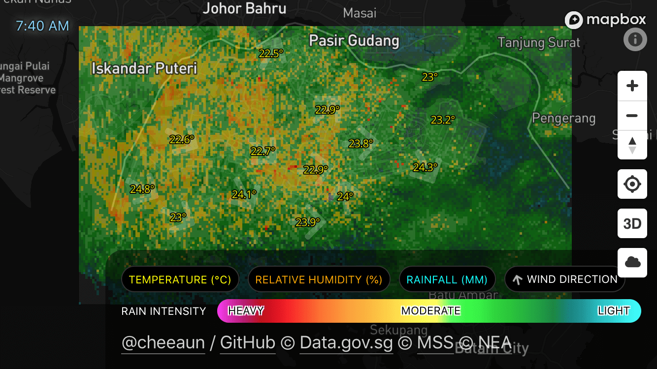 Check Weather SG showing rain intensity affecting the opacity of the polygons. Also showing a timestamp at the top left.