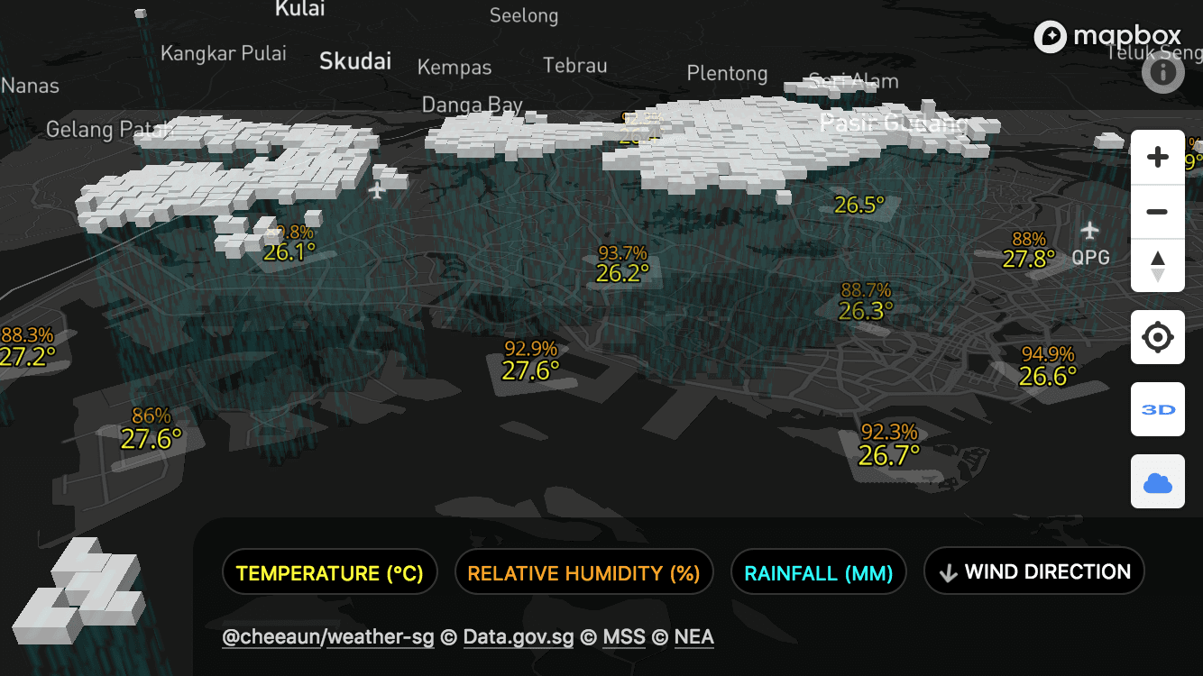 Check Weather SG site, showing clouds in 3D