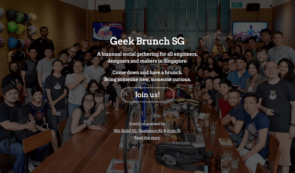 Geek Brunch SG web site on January 2017