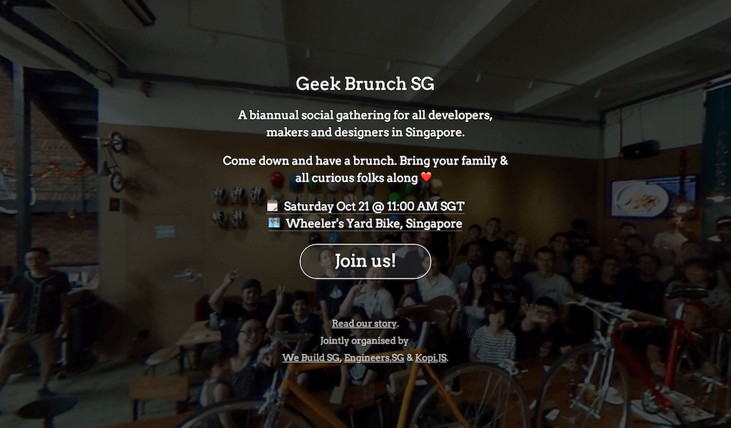 Geek Brunch SG web site on October 2017