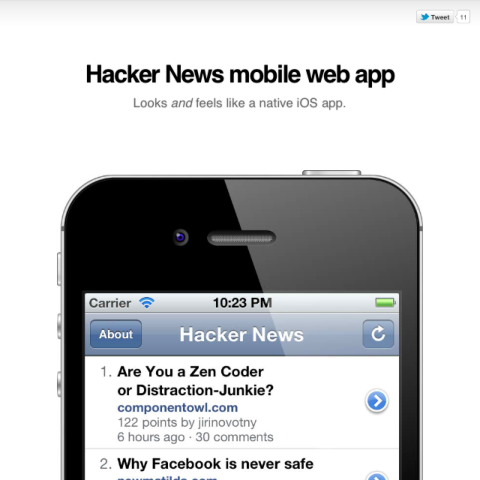 Hacker News Mobile web app landing page