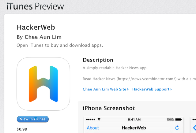 HackerWeb on the App Store; the iTunes Preview page