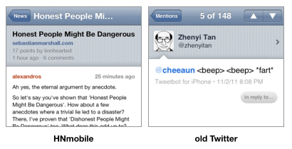 Details/comments view in HNmobile web app and tweet view on the old native Twitter app