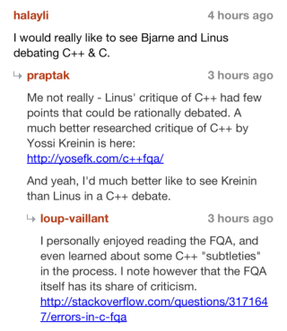 Threaded comments in HNmobile