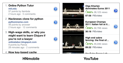 Table view in HNmobile web app and native YouTube app in comparison
