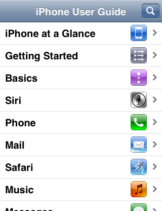 The iPhone User Guide web site on iPhone