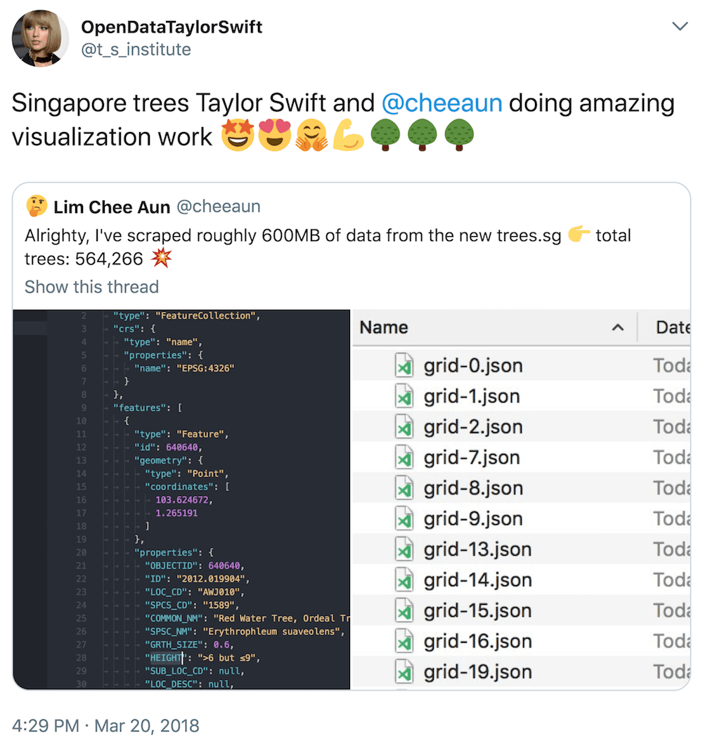 OpenDataTaylorSwift @t_s_institute tweeted: Singapore trees Taylor Swift and @cheeaun doing amazing visualization 🤩😍🤗💪🌳🌳🌳