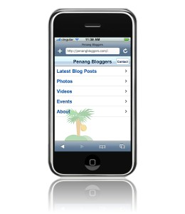 Penang Bloggers web site, optimized for Mobile Safari, displayed on iPhone