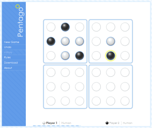 Pentagoo web site, with visible white and black marbles on the board