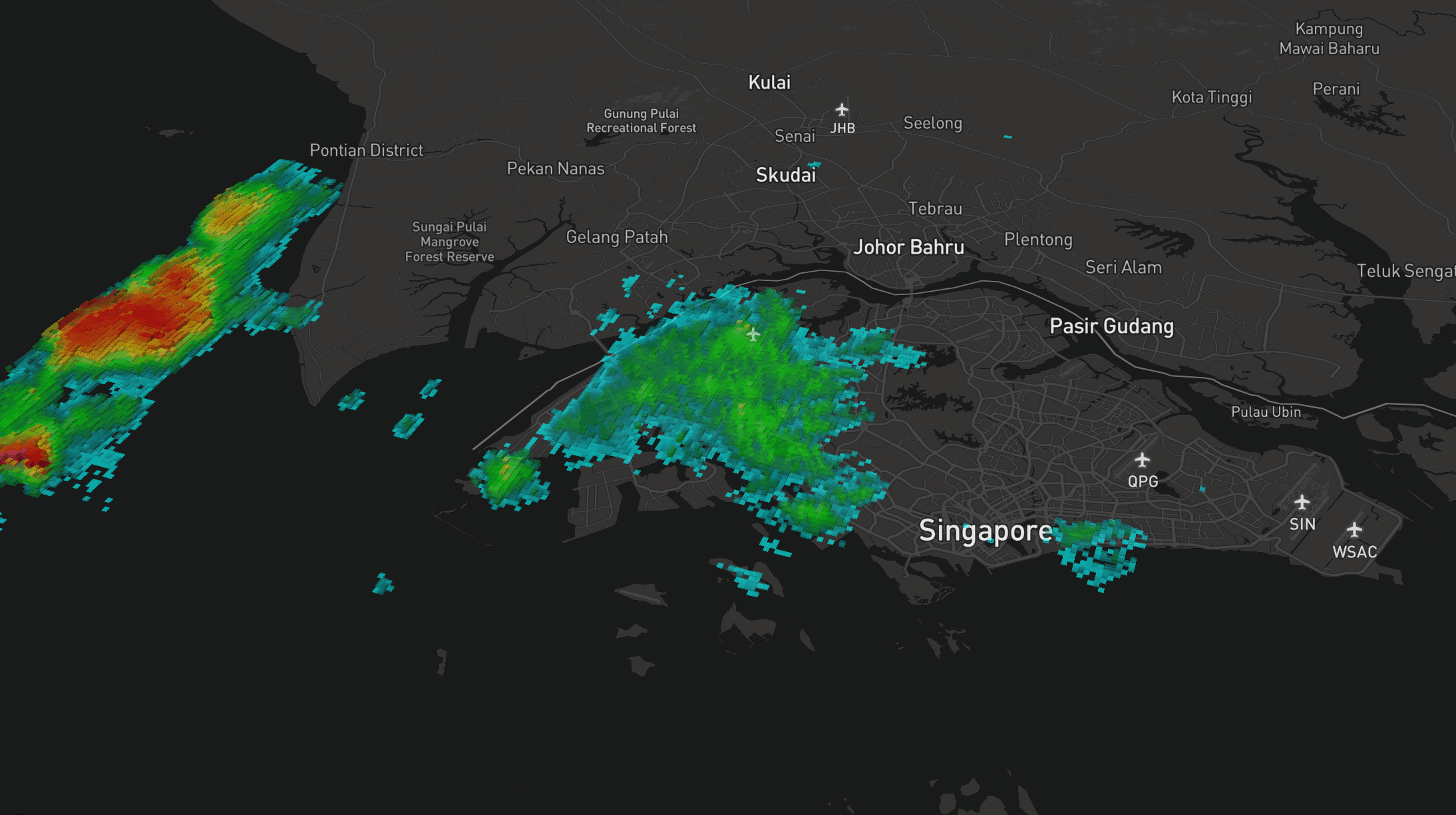 Rain area with 3D extrusion on Mapbox