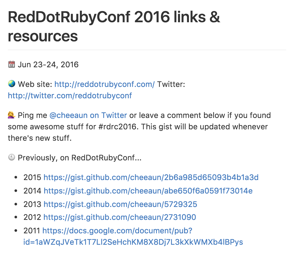 RedDotRubyConf 2016 links and resources on GitHub Gist